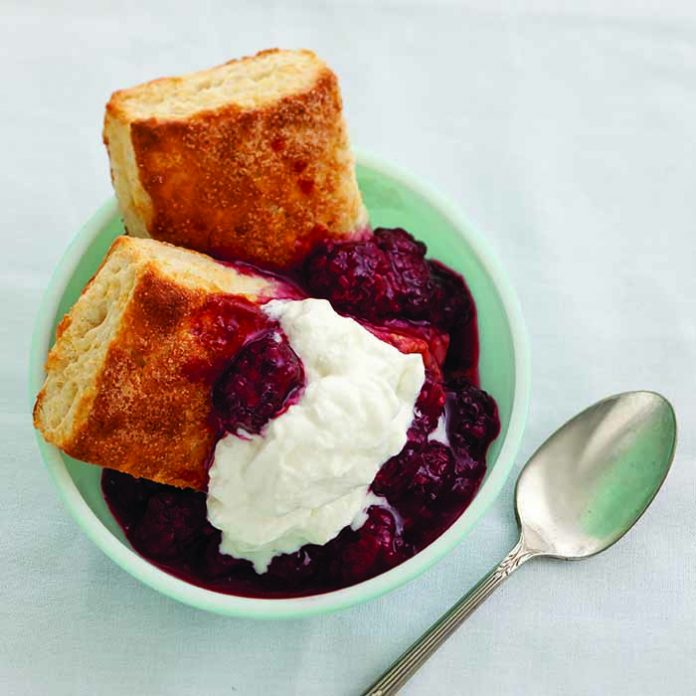 Virginia Willis' Mama's Sweet Biscuits with Stewed Blackberries