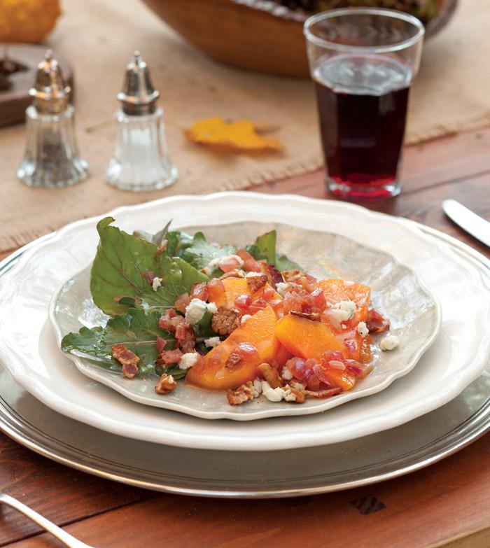 Arugula-Salad-with-Persimmon-Bacon-and-Bleu-Cheese