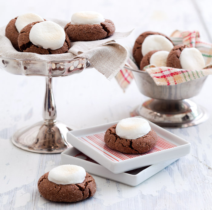 Hot Chocolate Cookies with Toasty Marshmallows