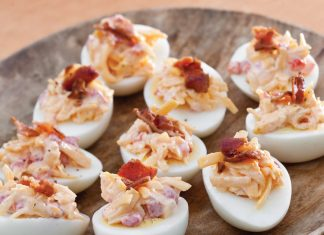 Pimiento Cheese and Bacon Topped Eggs