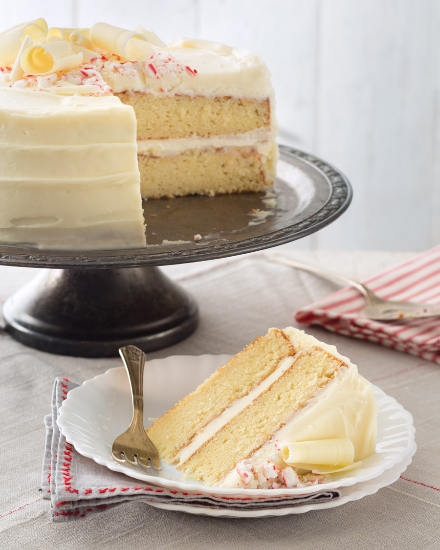 Vanilla Cake With White Chocolate-Peppermint Frosting