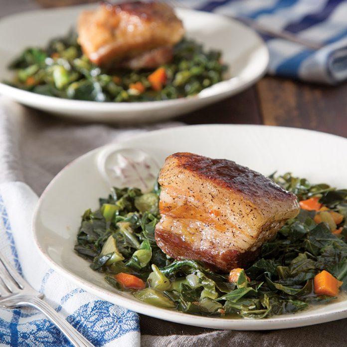 Braised Pork Belly with Collard Greens