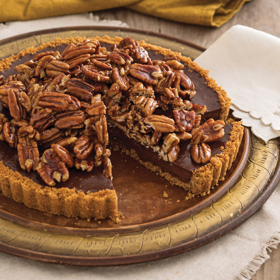 ... pecan pie cravings with this decadent chocolate tart with honey glazed