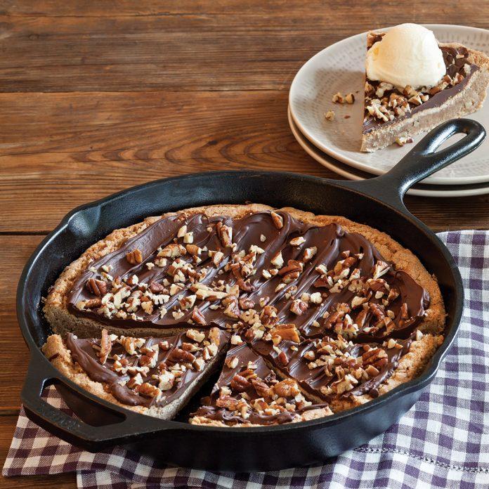 Chocolate Pecan Snickerdoodle Skillet Cookie