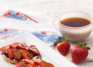 Goat Cheese Crostini with Strawberries and Community® Coffee-Balsamic Reduction