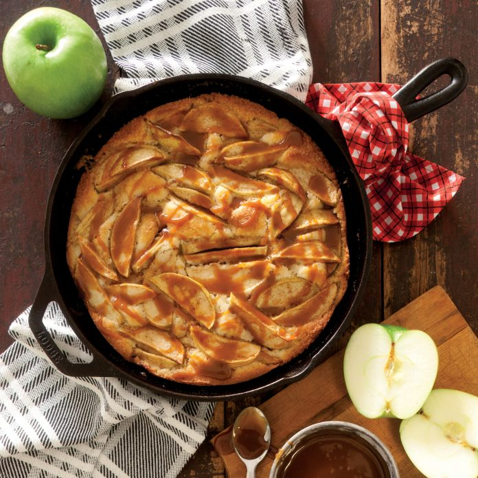 ... apples and a drizzle of caramel make this simple cake a showstopper