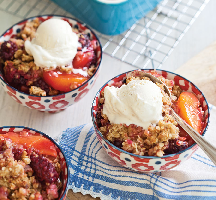 Peach-Blackberry Cobbler with Ginger Crumble - Taste of the South