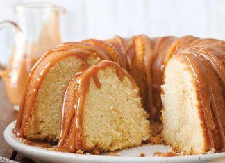 Vanilla Bundt Cake with Caramel Sauce