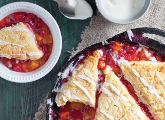 Apricot-Raspberry Cobbler with Buttermilk Biscuits