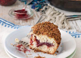 Raspberry Jam Coffee Cake with Pistachio Streusel