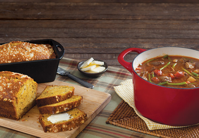 Pumpkin-Parmesan Bread and Hearty Vegetable-Beef Stew