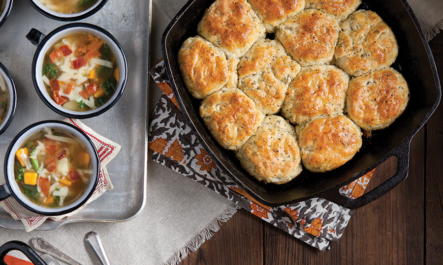 Sweet Potato Chowder and Black Pepper and Thyme Biscuits