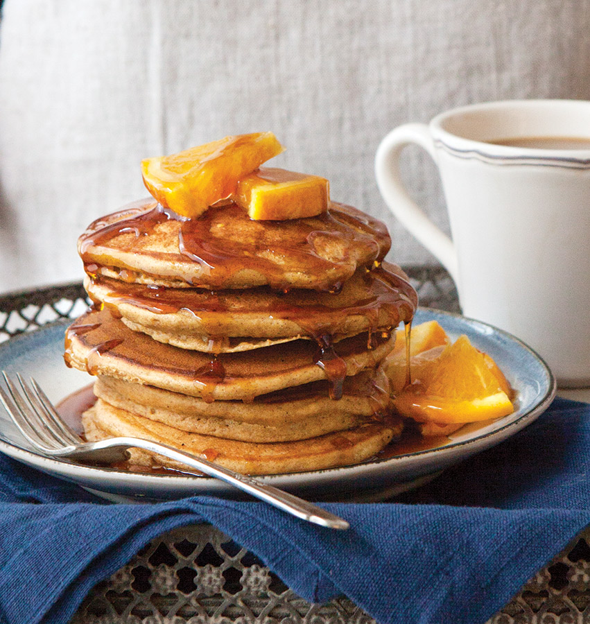 Gingerbread Pancakes with Maple-Orange Syrup