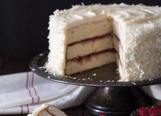 Coconut Raspberry Layer Cake