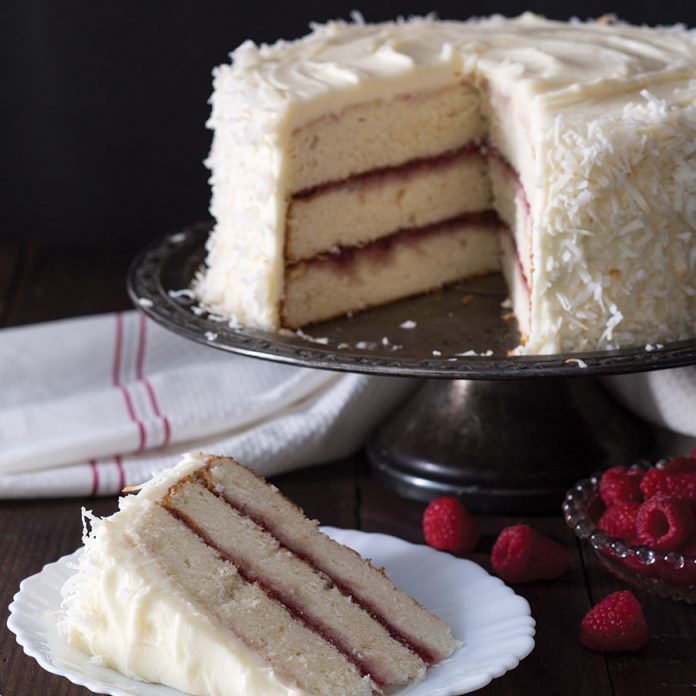 Coconut Raspberry Layer Cake