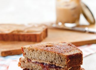 Grilled Peanut Butter and Banana Bread Sandwiches