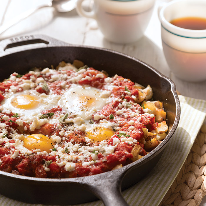 Skillet Fries with Sausage and Baked Eggs - Taste of the South