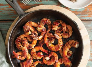 Pepper Jelly Glazed Bacon-Wrapped Shrimp