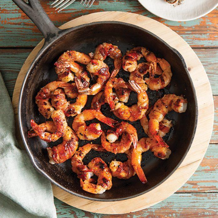 Pepper Jelly Glazed Bacon-Wrapped Shrimp