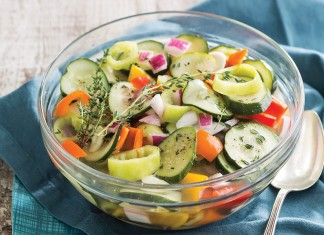 Marinated Spicy Cucumbers and Peppers