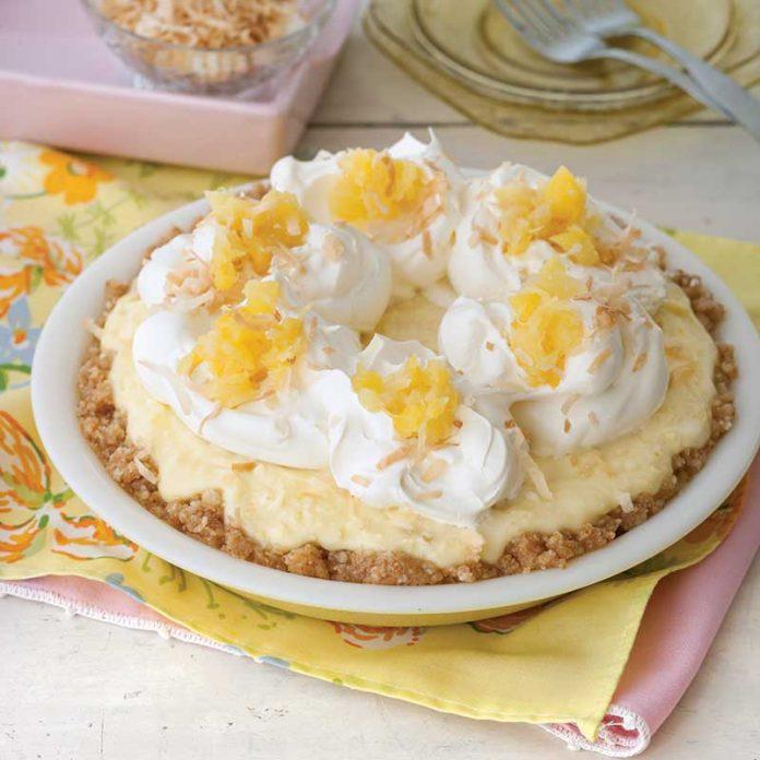 pineapple-coconut cream pie