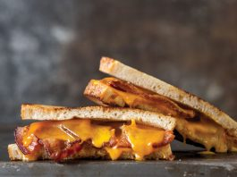Smoked cheddar Bacon Grilled Cheese sandwiches