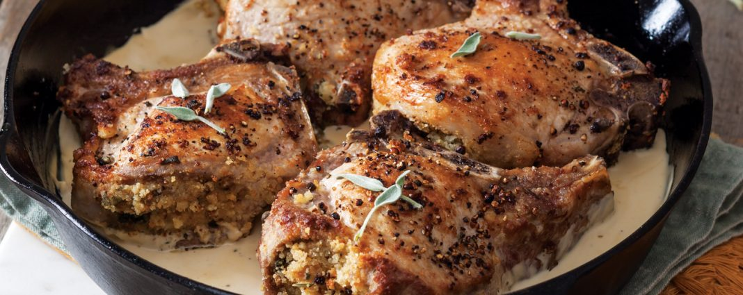 Cornbread and Herb-Stuffed Pork Chops - Taste of the South