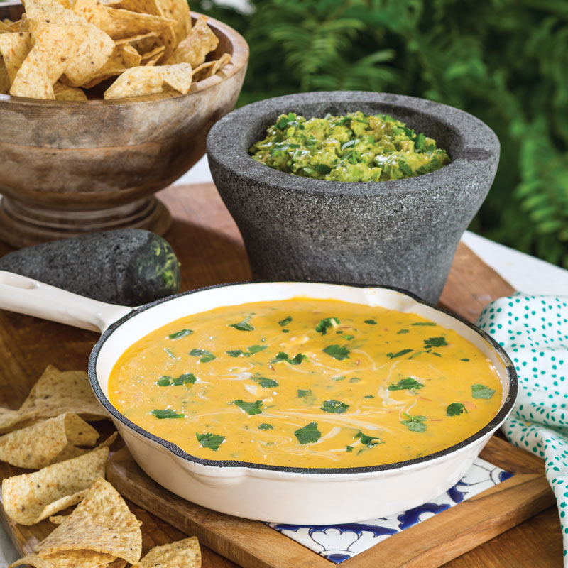 Skillet Cheese Dip Queso Guacamole