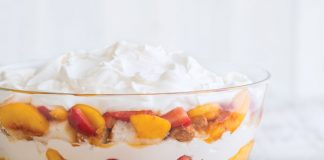 Peach and Strawberry Trifle