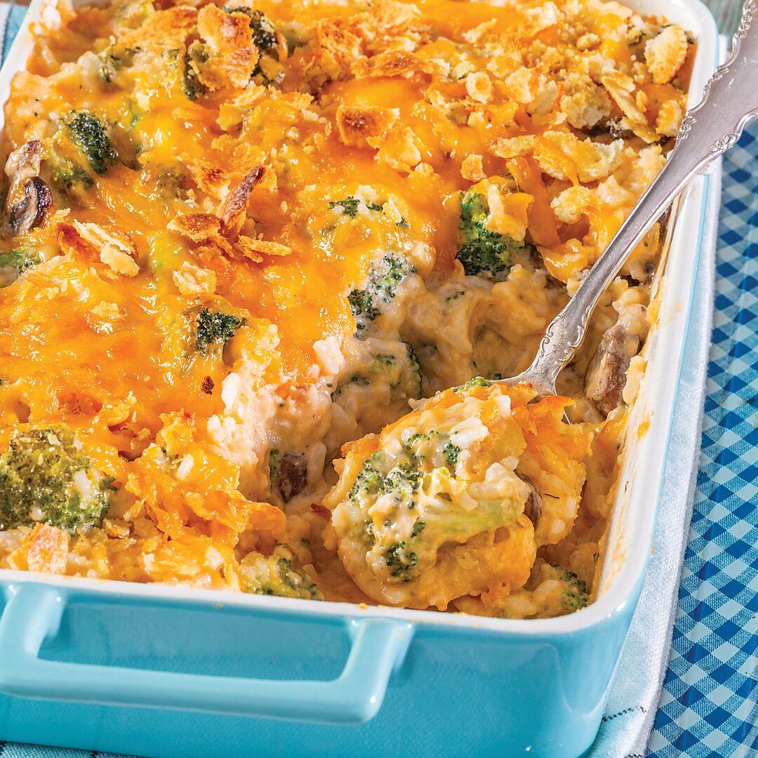Broccoli-Cheddar Rice Casserole